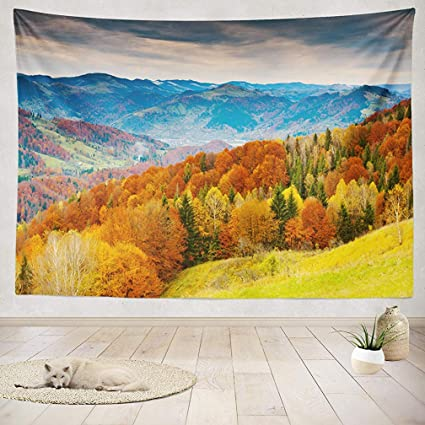 Amazoncom Yguii Tapestry Wall Handing Mountain Autumn