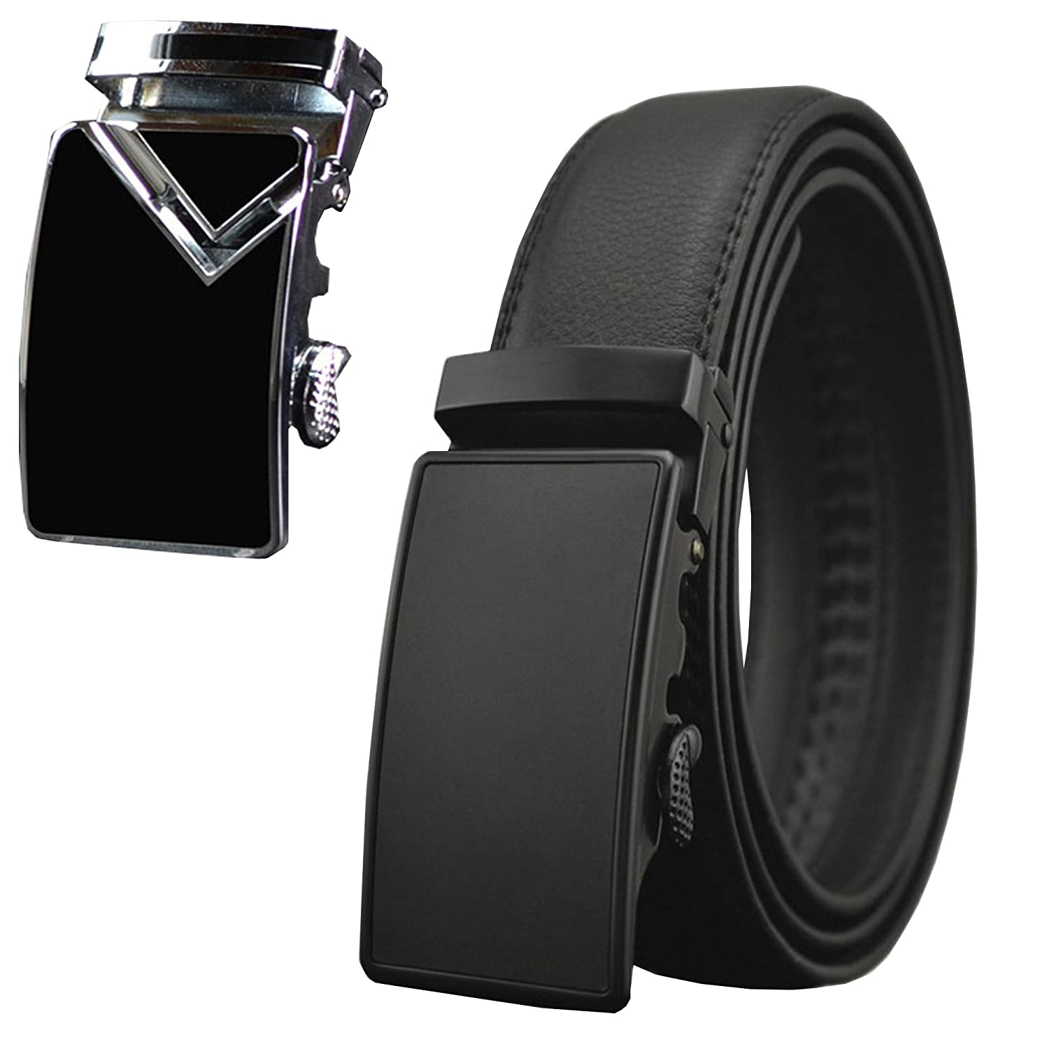 Men Leather Ratchet Automatic Buckle Dress Belt with Standby Buckle-Trim to Fit (Waist size 42-48''/length 130cm, Style C)