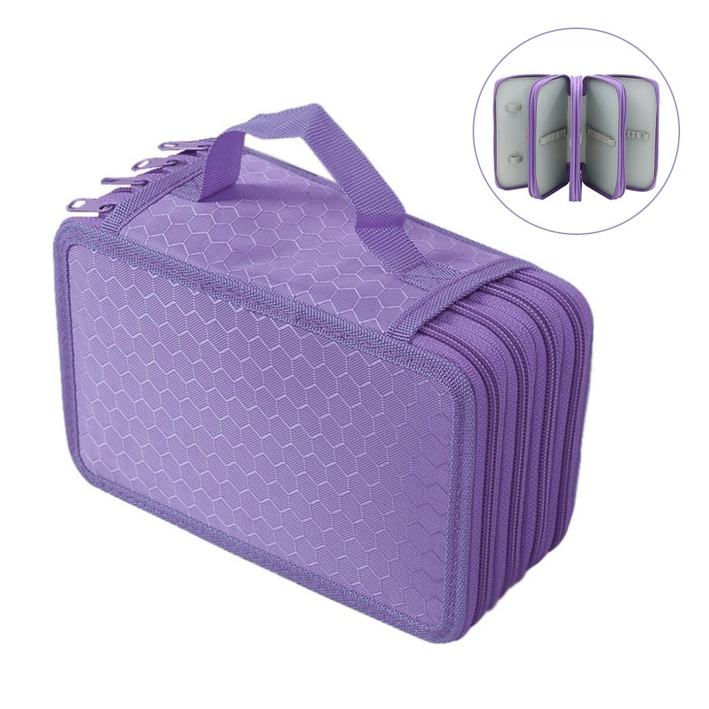NUOLUX Pencil Holder Organizer Pencil Case Students Pen Pouch Bag Stationary Box for Art School Office Travel 72 Slots 4-layer(Purple)