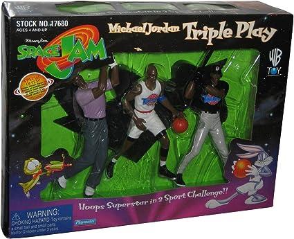 "Michael Jordan Space Jam Movie 15/"" Talking Figure and Triple Play Box Set 1996"