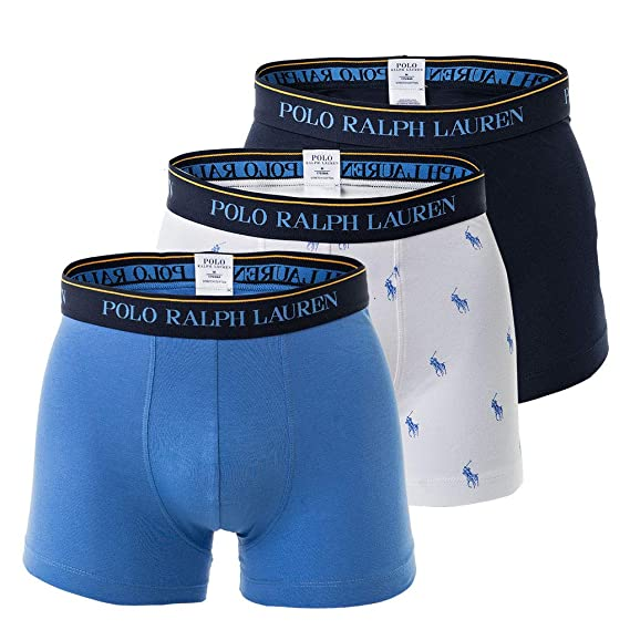 6421856919 Ralph Lauren Polo Men's Boxer Shorts Pack of 3 - Classic Trunks, Stretch  Cotton,