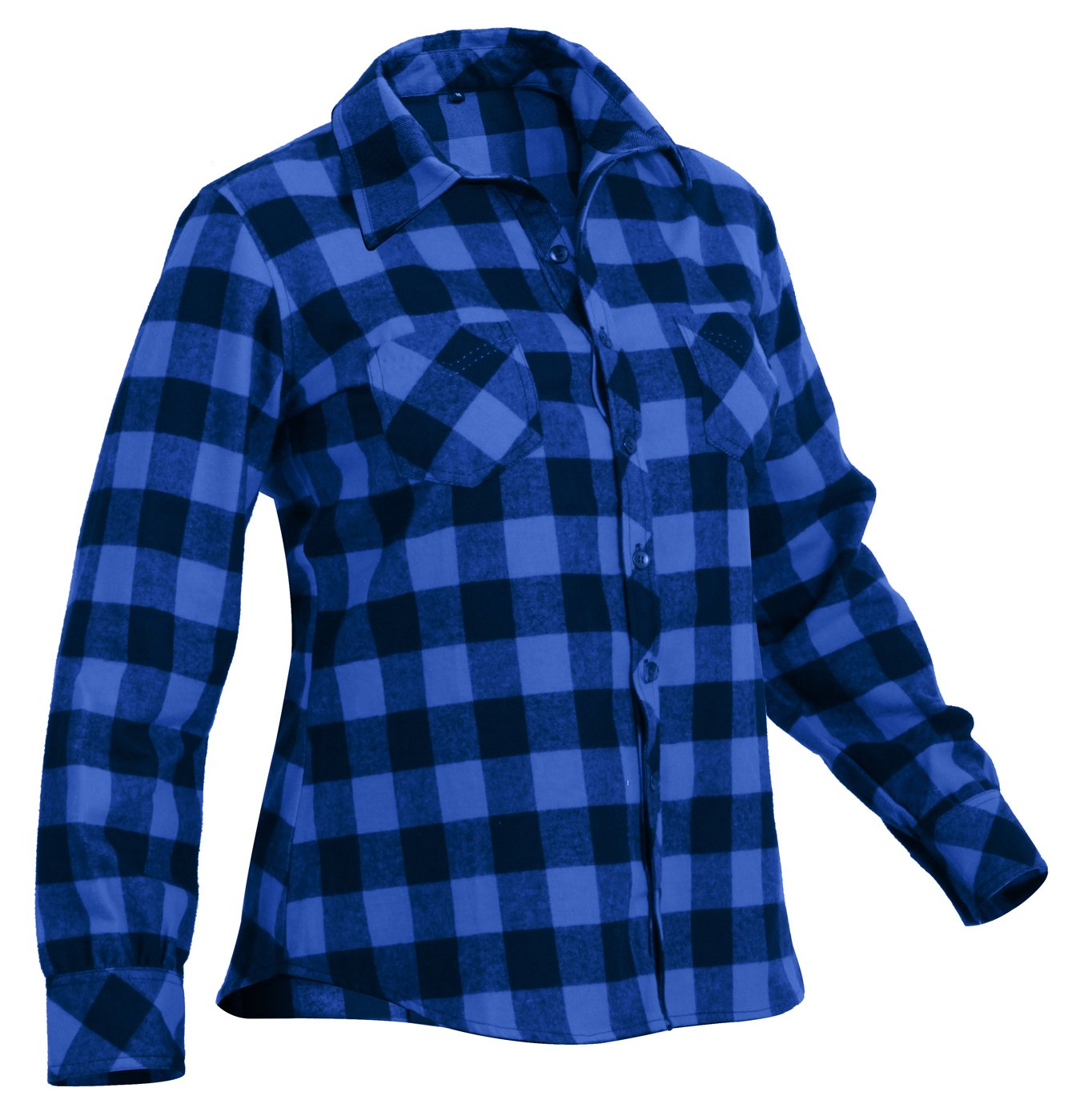 Rothco Womens Plaid Flannel Shirt, Blue/Black, 2XL, Blue by Rothco