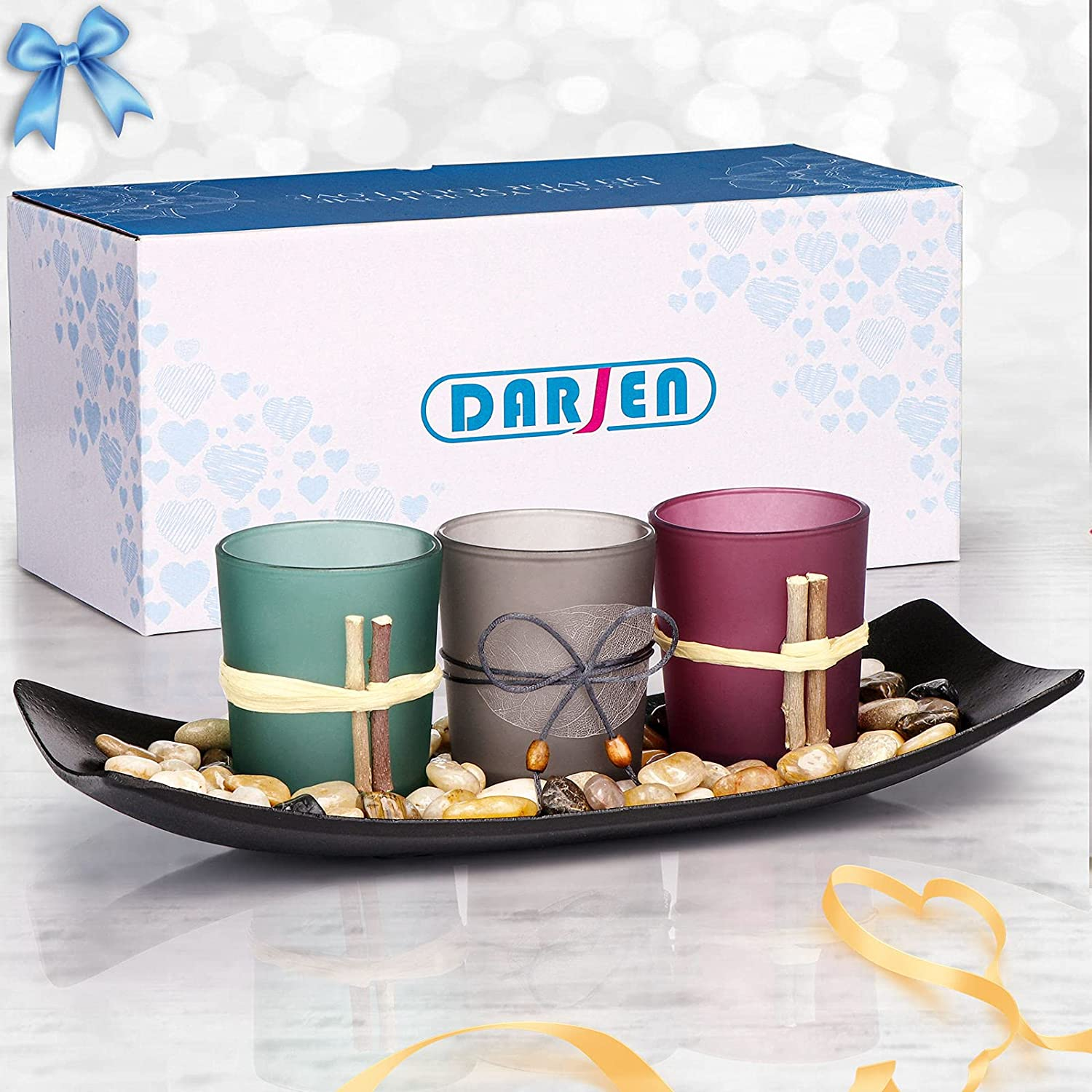 DARJEN Candle Holders Tray and Rocks,Candle Holders Gift Set for Mom Women,Candlescape Centerpiece Set of 3 Tea Light,Home Decor for Coffee Table,Living Room,Birthday,Valentines Day,Christmas,Gift Box