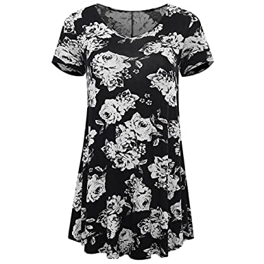 f4bcb33112d Owill Women Plus Size Floral Print Short Sleeve Flare Tunic Shirt Tops  Blouse at Amazon Women s Clothing store