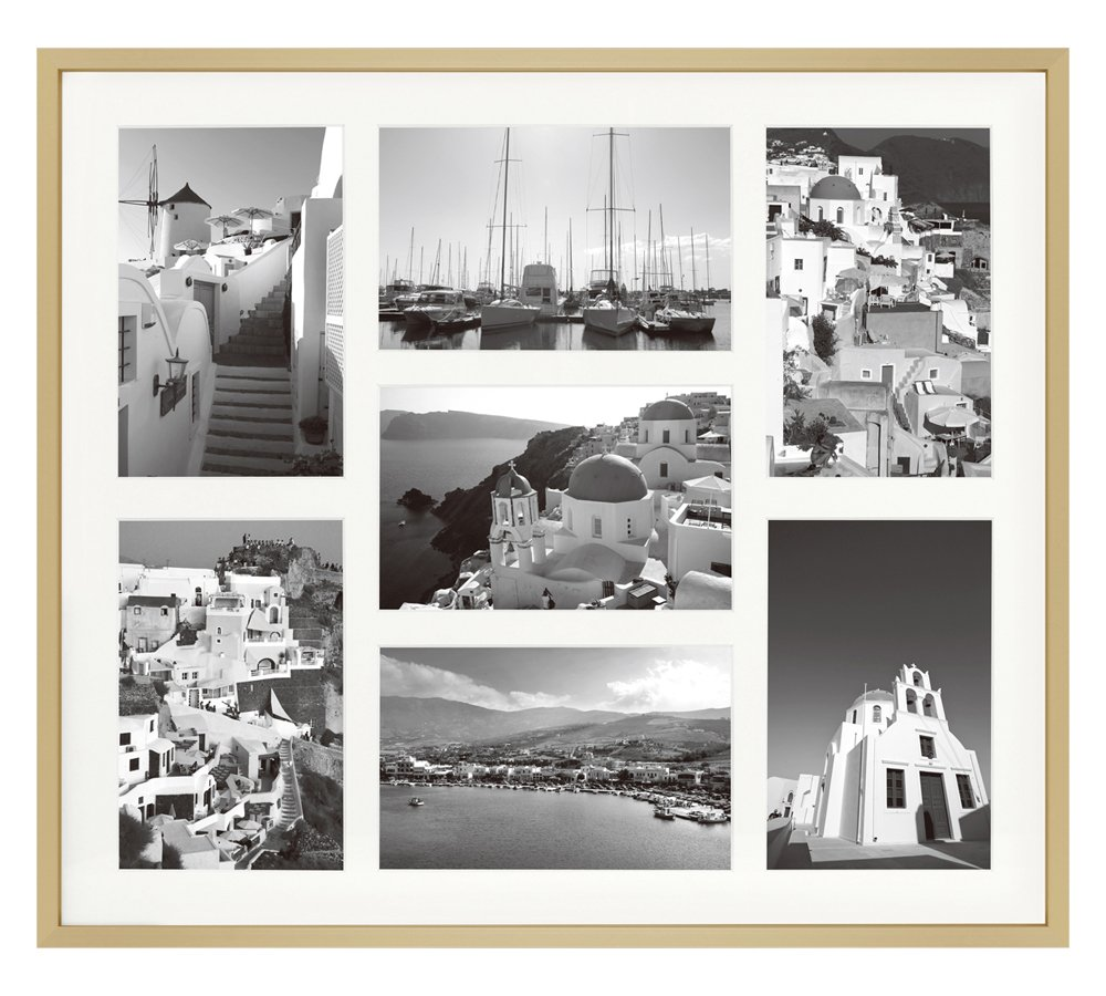 13.7x15.7 Gold Collage Frame - Ivory Mat - Displays Seven 4x6 Photos - Aluminum Metal - Real Glass, Sawtooth Hanger, Swivel Tabs - Wall Mounting, Landscape, Portrait by Golden State Art
