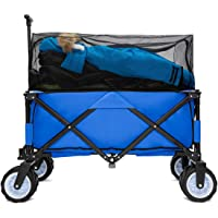 PA Юра Collapsible Folding Wagon Foldable Outdoor Beach Shopping Garden Cart with Wheels Push Or Pull (IPA009406BL)