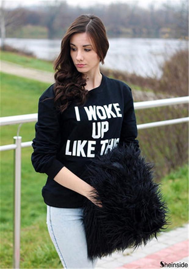 COCO clothing Sudaderas de Mujer Deportivas Blusas Juvenil Alfabeto Estampado Basica Top Camisetas Universidad Sweatshirt Otoño Casual T-Shirt: Amazon.es: ...