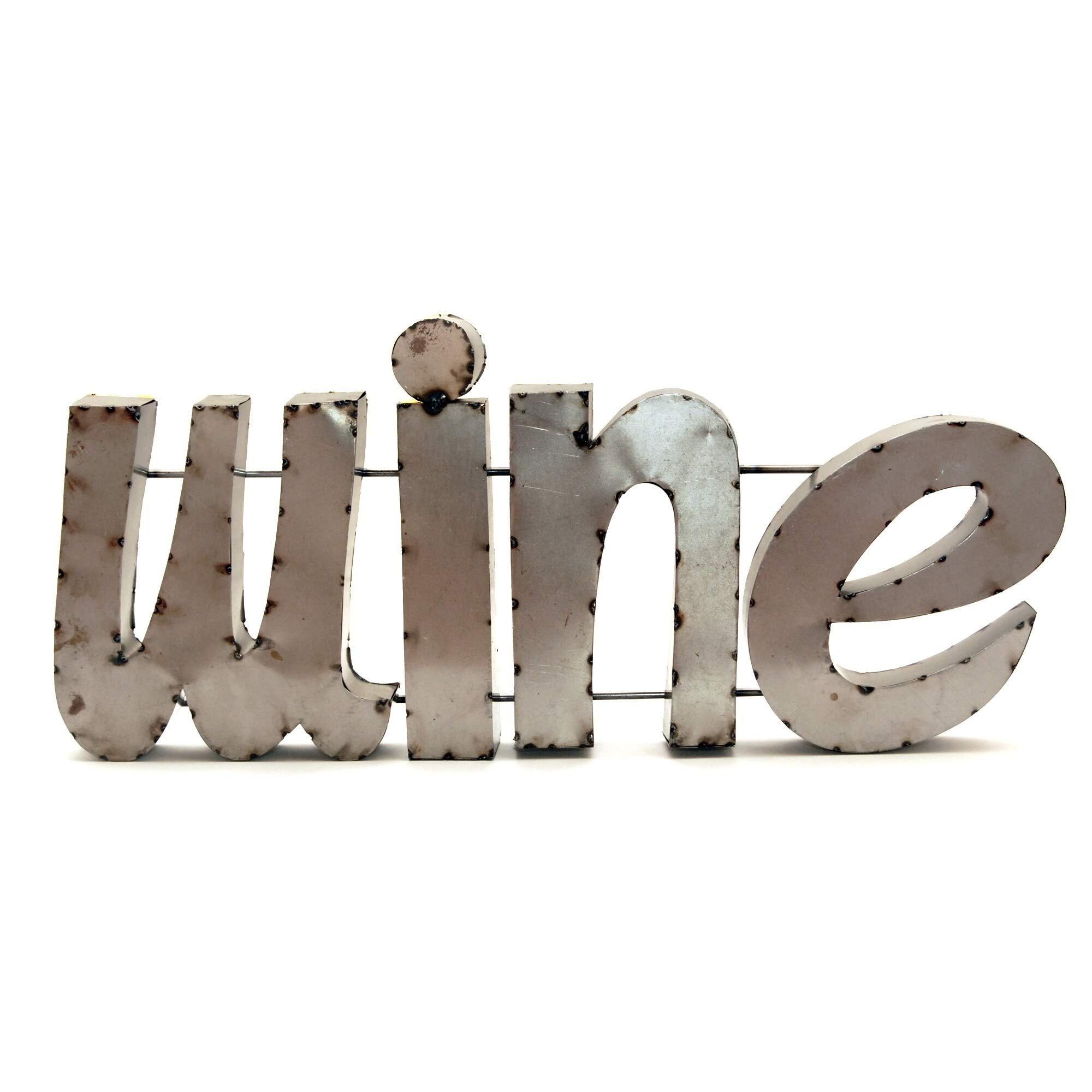Wine W/Rebar Sign - N/a Multi Color Animals Metal Handmade by Unknown