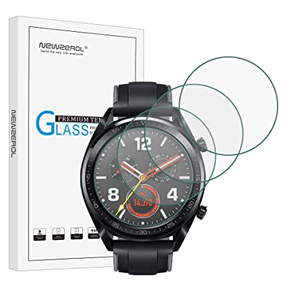 NEWZEROL [Paquete de 4] para Huawei Watch GT / GT Active / GT Protector de pantalla elegante (tamaño actualizado) 2.5D Arcos Edges 9 Dureza Protector ...
