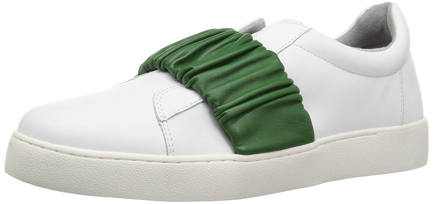 Nine West Women's Pindiviah Leather Sneaker B072JMWSH3 6.5 B(M) US|White/Green Leather