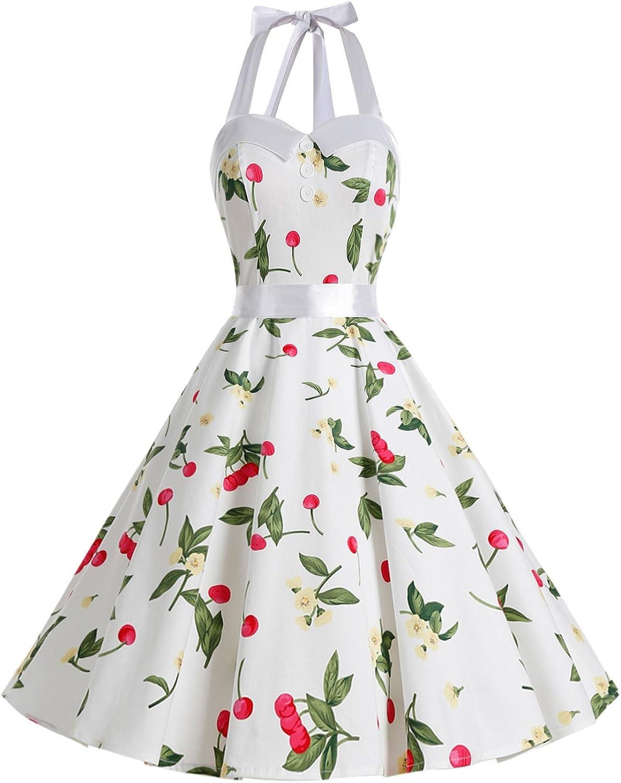 TALLA S. Dressystar Vestidos Corto Cuello Halter Estampado Flores y Lunares Vintage Retro Fiesta 50s 60s Rockabilly Mujer Cherry3 S