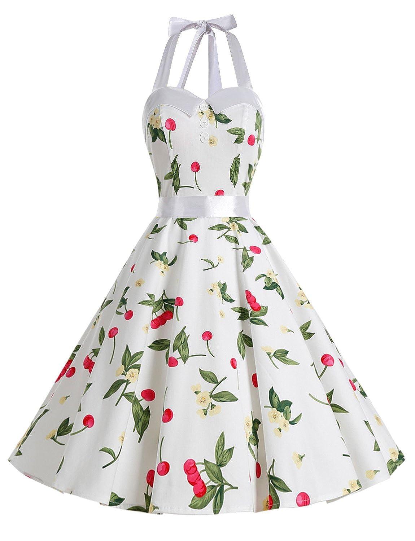 TALLA XS. Dressystar Vestidos Corto Cuello Halter Estampado Flores y Lunares Vintage Retro Fiesta 50s 60s Rockabilly Mujer Cherry3 XS