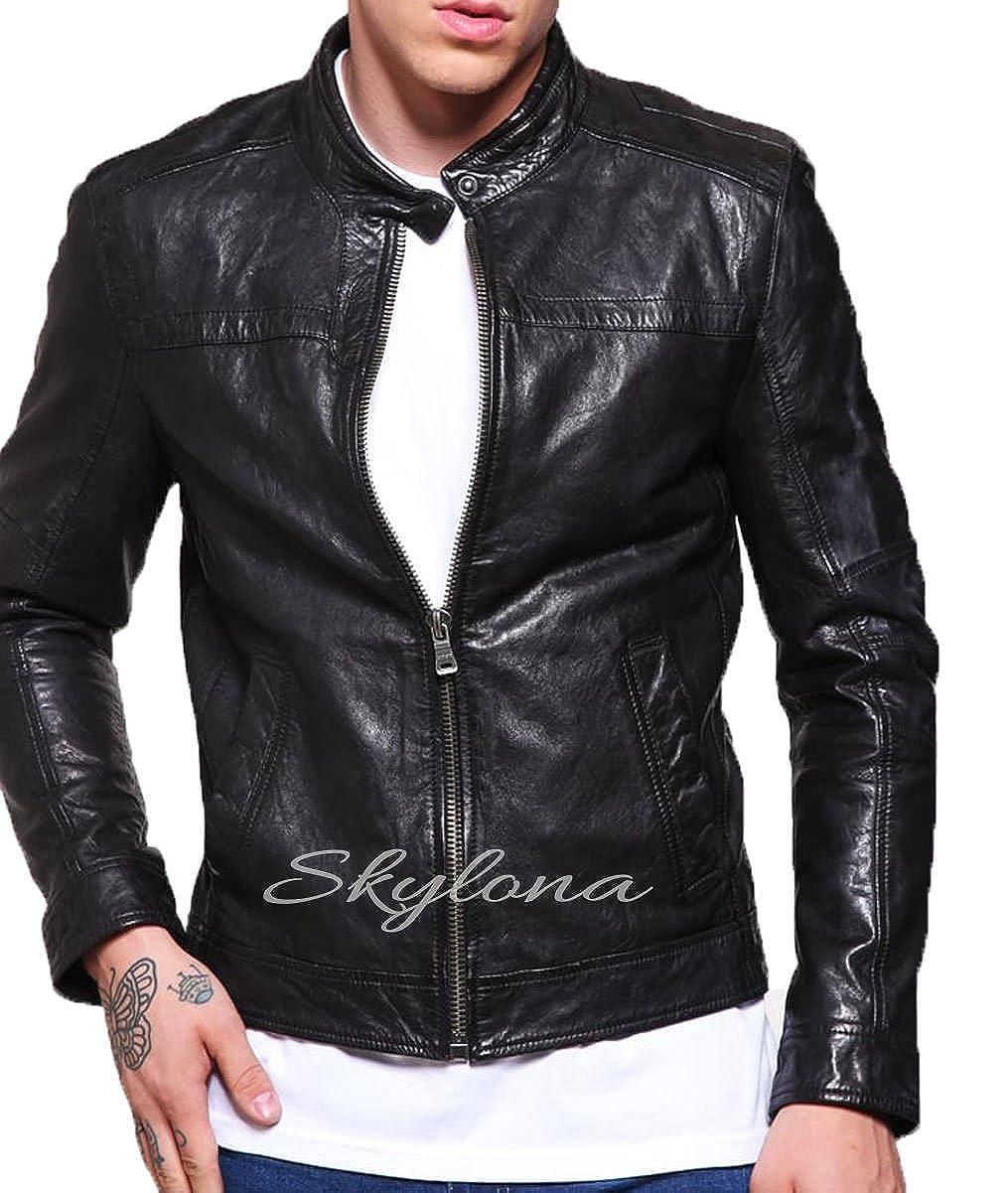 Skylona Mens Leather Jackets Motorcycle Bomber Biker Real Leather Jacket 449