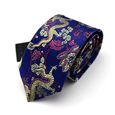 HXCMAN 7cm azul rojo floral dragón chino estrecha corbata Diseño ...