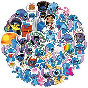 100 Pcs Cute Lilo & Stitch Stickers,Cartoon Anime Stickers Decals Pack for Laptop Waterbottle Flasks MacBook Computer Phone Luggage Car,Waterproof Vinyl Stickers for Kids Boys Girls Teens Toddlers.