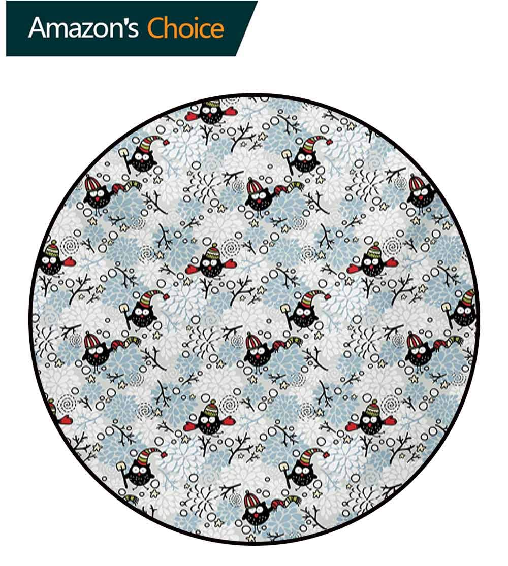 RUGSMAT Owls Small Round Rug Carpet,Wintertime Pattern with Cute Characters and Snow Flowers Stars Doodle Style Xmas Theme Door Mat Indoors Bathroom Mats Non Slip,Diameter-71 Inch by RUGSMAT (Image #1)