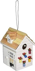 Home Bazaar Hand-Made Potting Shed White Bird House - Small Bird House - Home Decor