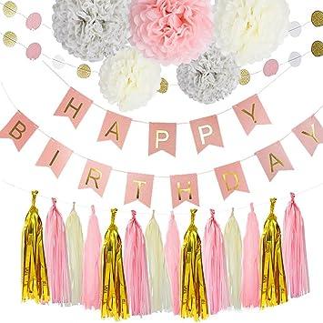 Fiesta de cumpleaños Set Paper Flower Ball Paper String ...