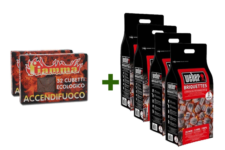 Fuocobello Kit WEBER Accendi-Barbecue Perfetto: 16kg di bricchetti carbone + 64 cubetti accendifuoco ecologico