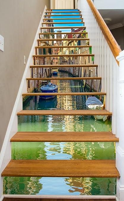 Venice Street Scene 37u0026quot; X 14 Painted Stairway Decoration Adhesive  Vinyl Decal Stair Riser Panels