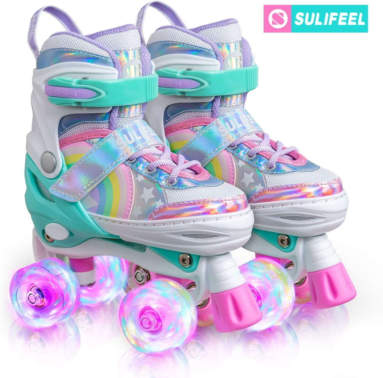Amazon Com Sulifeel Rainbow Unicorn 4 Size Adjustable Light Up Roller Skates For Girls Boys For Kids Sports Outdoors