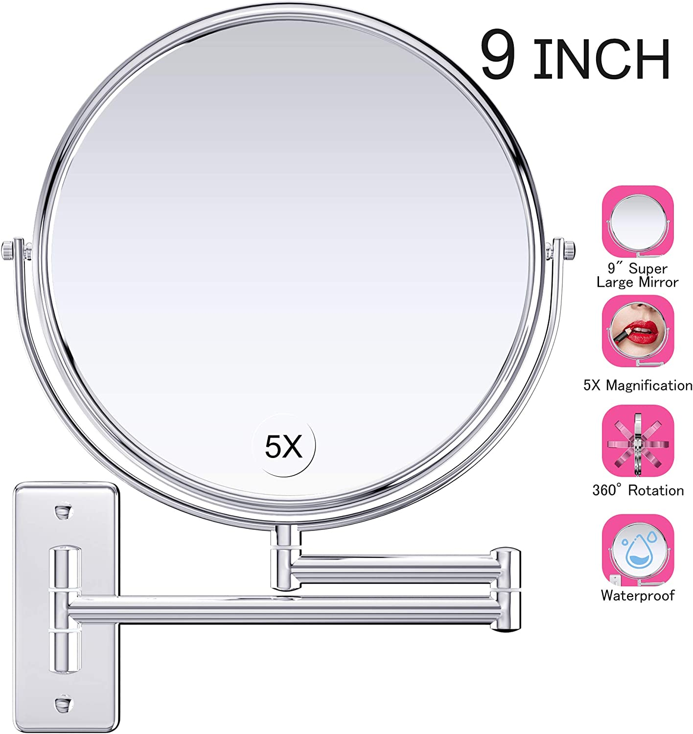 Beauty Planet 6 Inch 15X Magnifying Mirror, Two Sided Mirror, 15X 1X Magnification, Makeup Mirror with Handheld Stand,Use for Makeup Application, Tweezing, Blackhead Blemish Removal. Silver