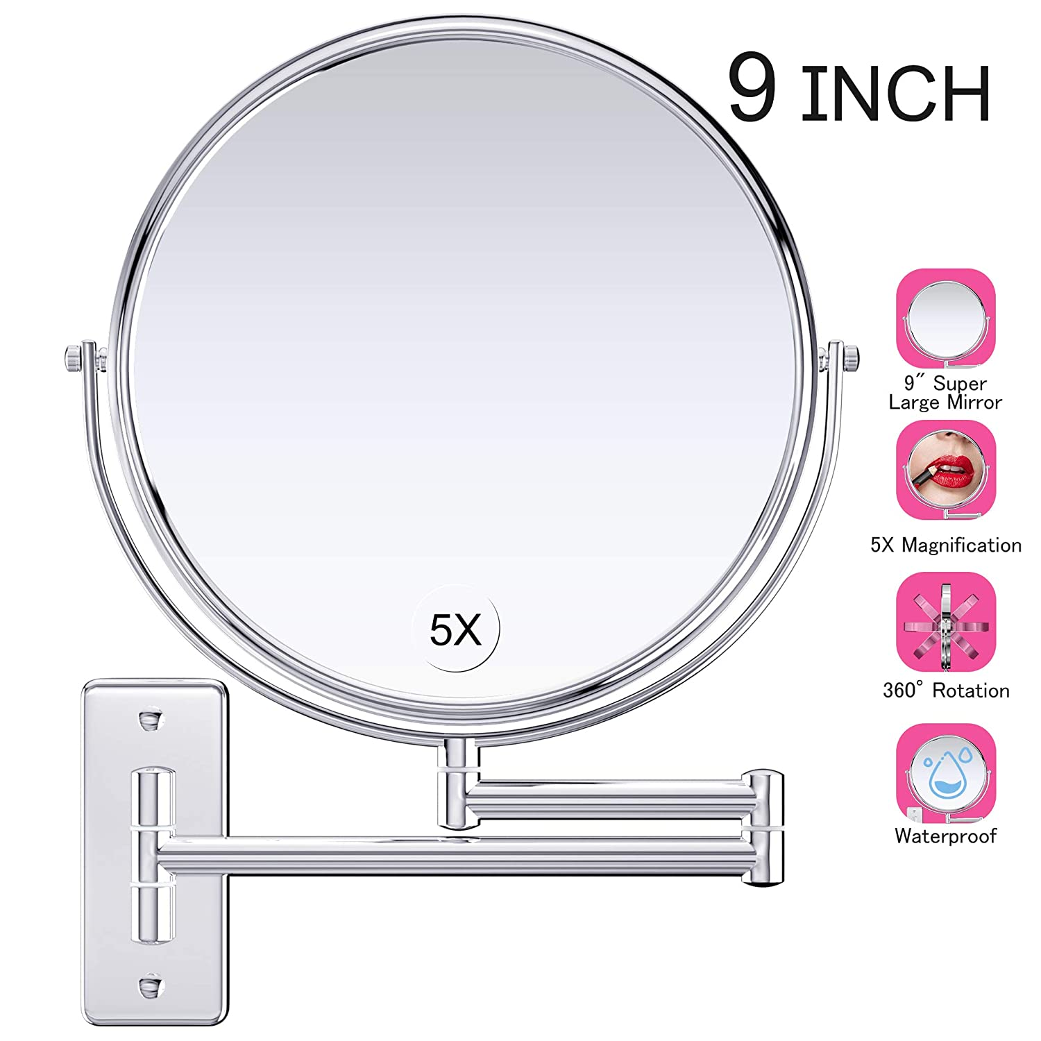 """Gospire 9"""" Large Size Wall Mount Makeup Mirror with 5X Magnification Double-Sided Swivel Mirror,Polished Chrome Finished"""