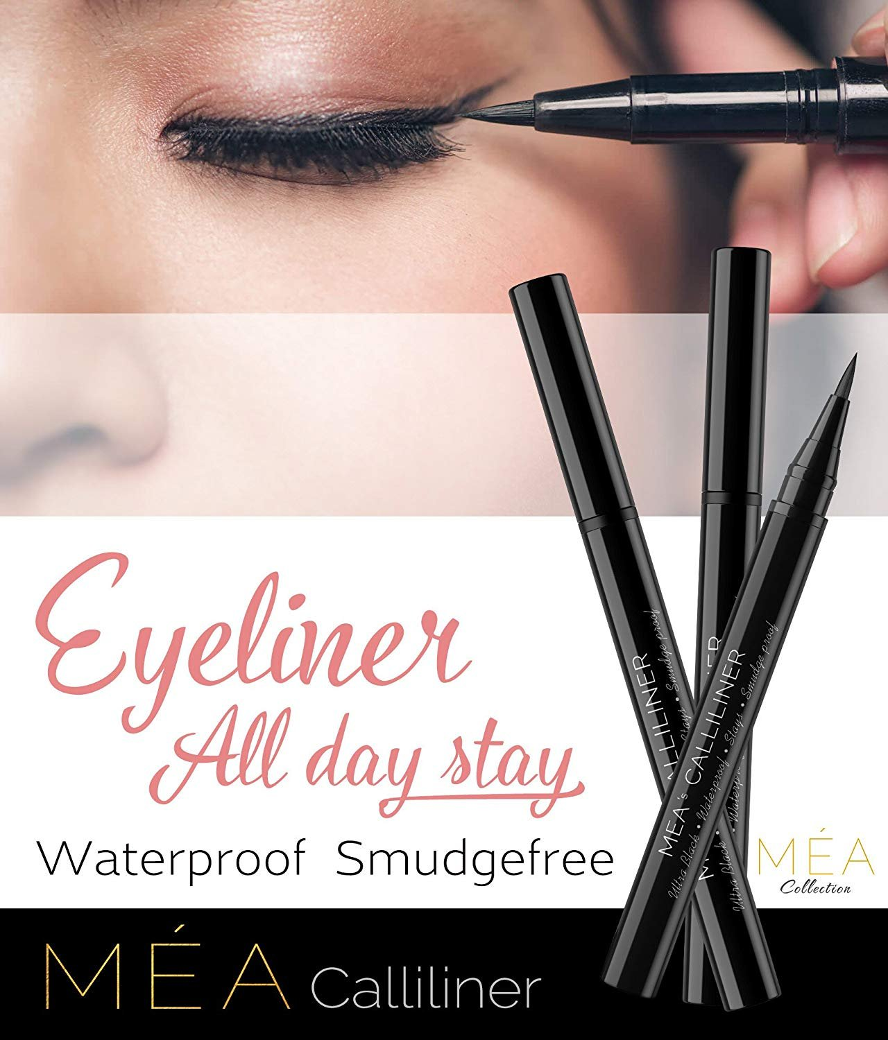 PRIME WEEK SPECIAL - Waterproof Liquid Eyeliner - Mea's Calliliner Semi Permanent Ultra Black Eye Liner, Prestige All Day Stay Brush giving you that Wild & Intense Covergirl Beauty - Glitter free Glos Méa Collection