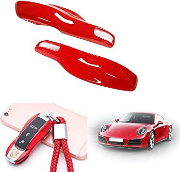 Red carmonmon Smart Protectors Keyless Remote Key Cases Shell Car Key Case Platic Cover Case Cover Side Blades for Porsche Cayenne Panamera