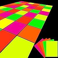 20 Sheets Neon Papers Glow in The Dark DIY Dance Floor Fluorescent UV Reactive Cardstock Supplies for Black Light Neon…