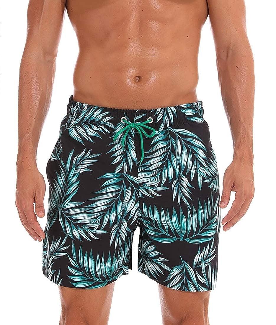 Mens Print Swimming Quick Dry Drawstring Fashion Beach Shorts