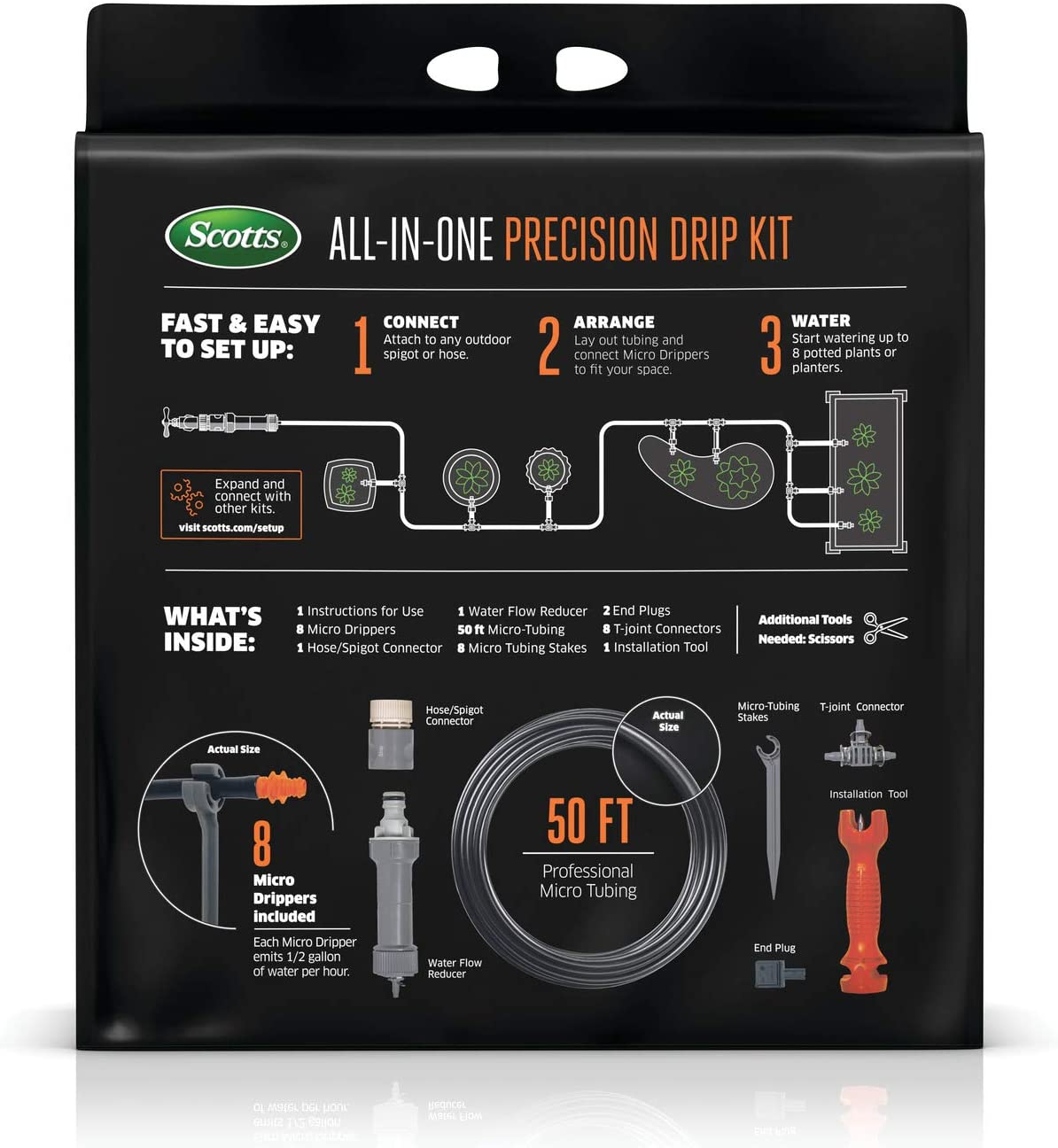 Scotts All-in-One Precision Drip Kit – Includes 8 Micro Drippers and 50 ft. of Professional Micro Tubing, Precision Watering for Pots and Planters, Covers up to 8 Pots or Planters