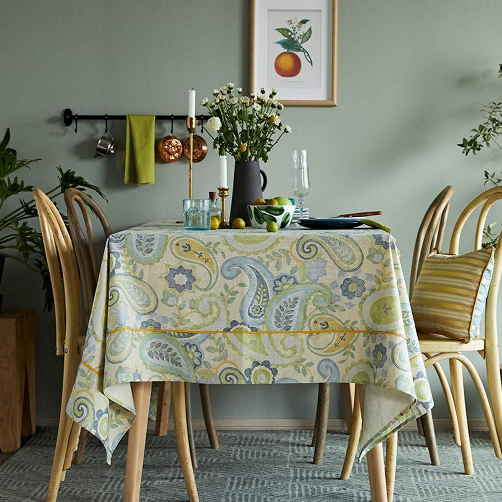 長方形のテーブルクロス、イチジクリネンビスコース布反湯垢防止皺キッチンコーヒーテーブルレストランの装飾に適して (色 : B, サイズ さいず : 70.9''*70.9'') 70.9''*70.9'' B B07RVJF4JW