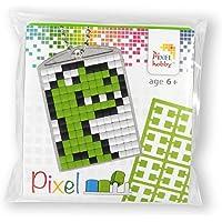P23029 Pixel Mozaïek medaillon Dino, sleutelhanger voor kinderen om zelf vorm te geven, kinderlijk eenvoudig…