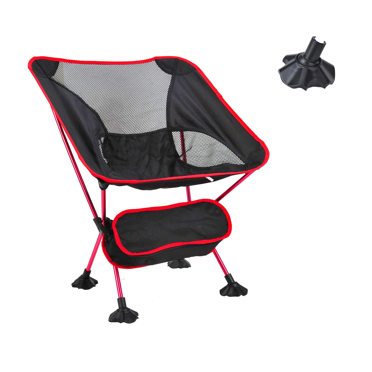 Geezo Ultralight Folding Camping Chair,Portable Chairs with Carry Bag Heavy Duty 264lbs Capacity for Backpacking, Hiking, Picnic Red