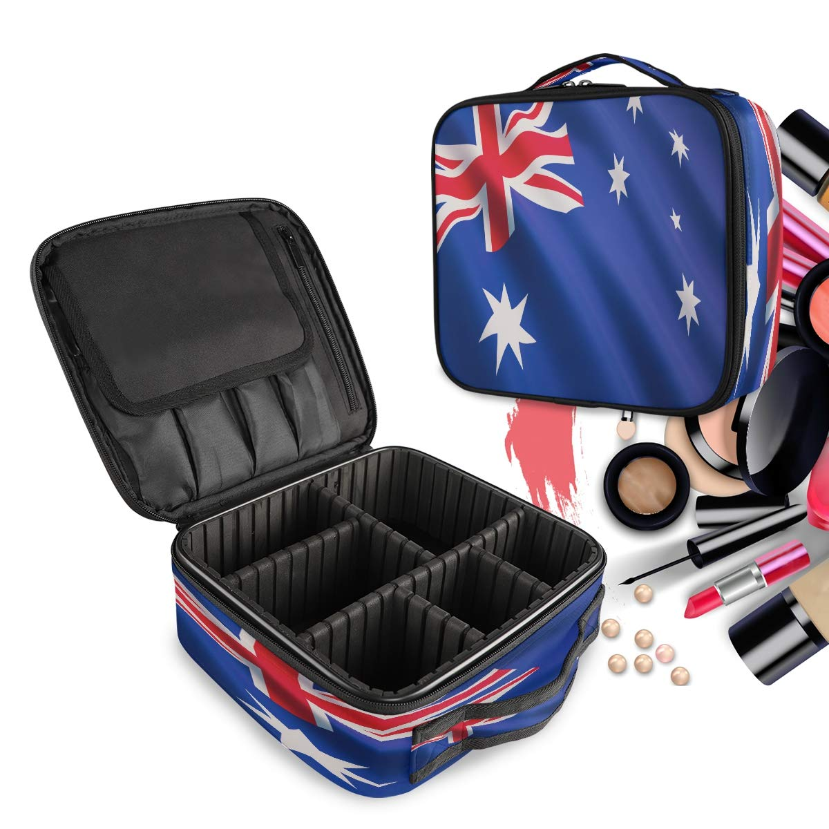 Travel Makeup Case Flag Of Australia Cosmetic Bag Box Professional Train Case Large Make Up Storage Organizer with Removable Dividers & Brush Section for Women Girls Hard Shell