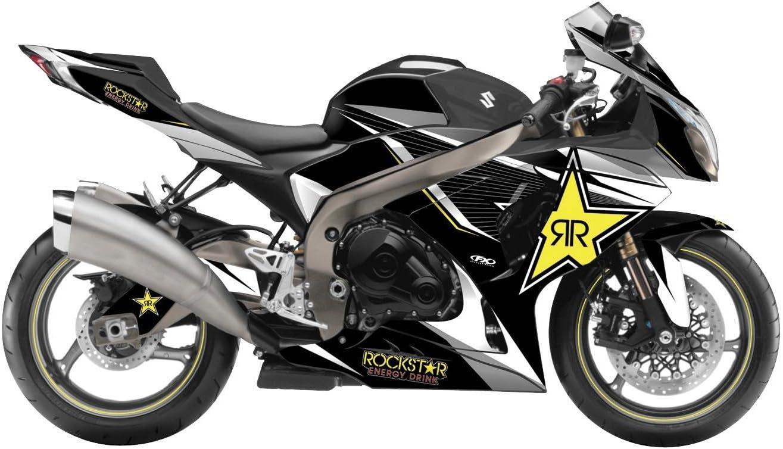 Factory Effex 16-15412-RS Rockstar Series Yellow Star Complete Street Bike Graphic Kit for Suzuki GSX-R600//GSX-R750