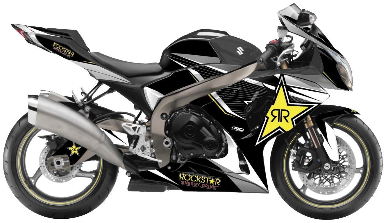 Factory Effex 16-15430-RS Rockstar Series Yellow Star Complete Street Bike Graphic Kit for Suzuki GSX-R1300 Hayabusa