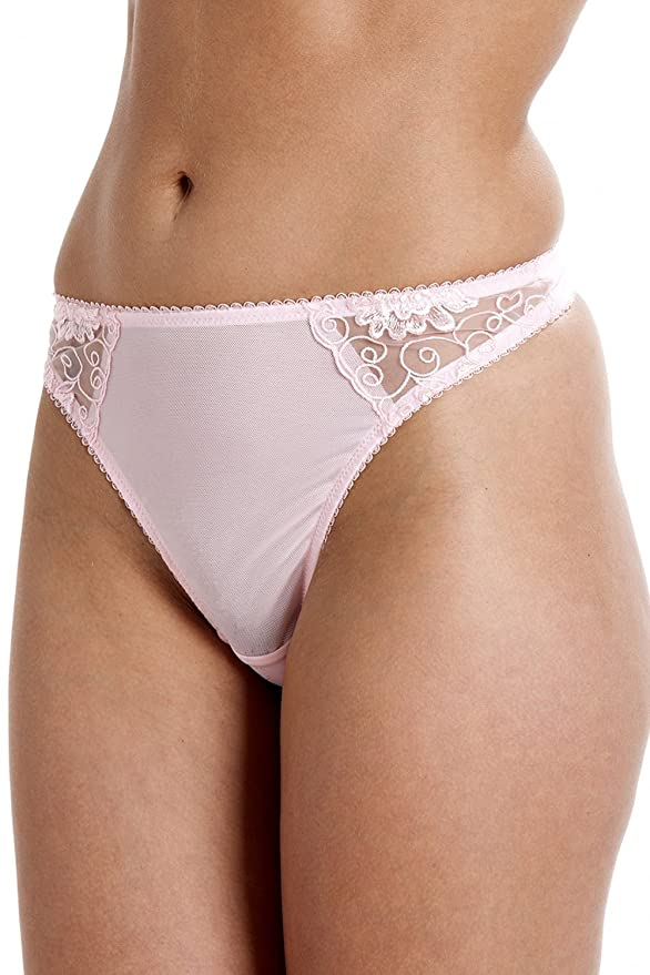 11d5e536674f Camille Womens Ladies Florence Embroidered Underwear Thong Pink:  Amazon.co.uk: Clothing