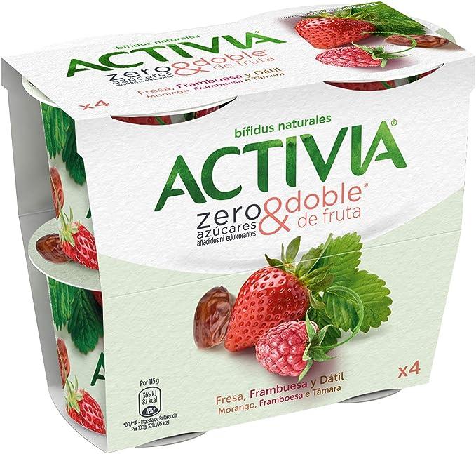 Activia Paquete de Yogur Zero Azúcares Añadidos con Fresa ...