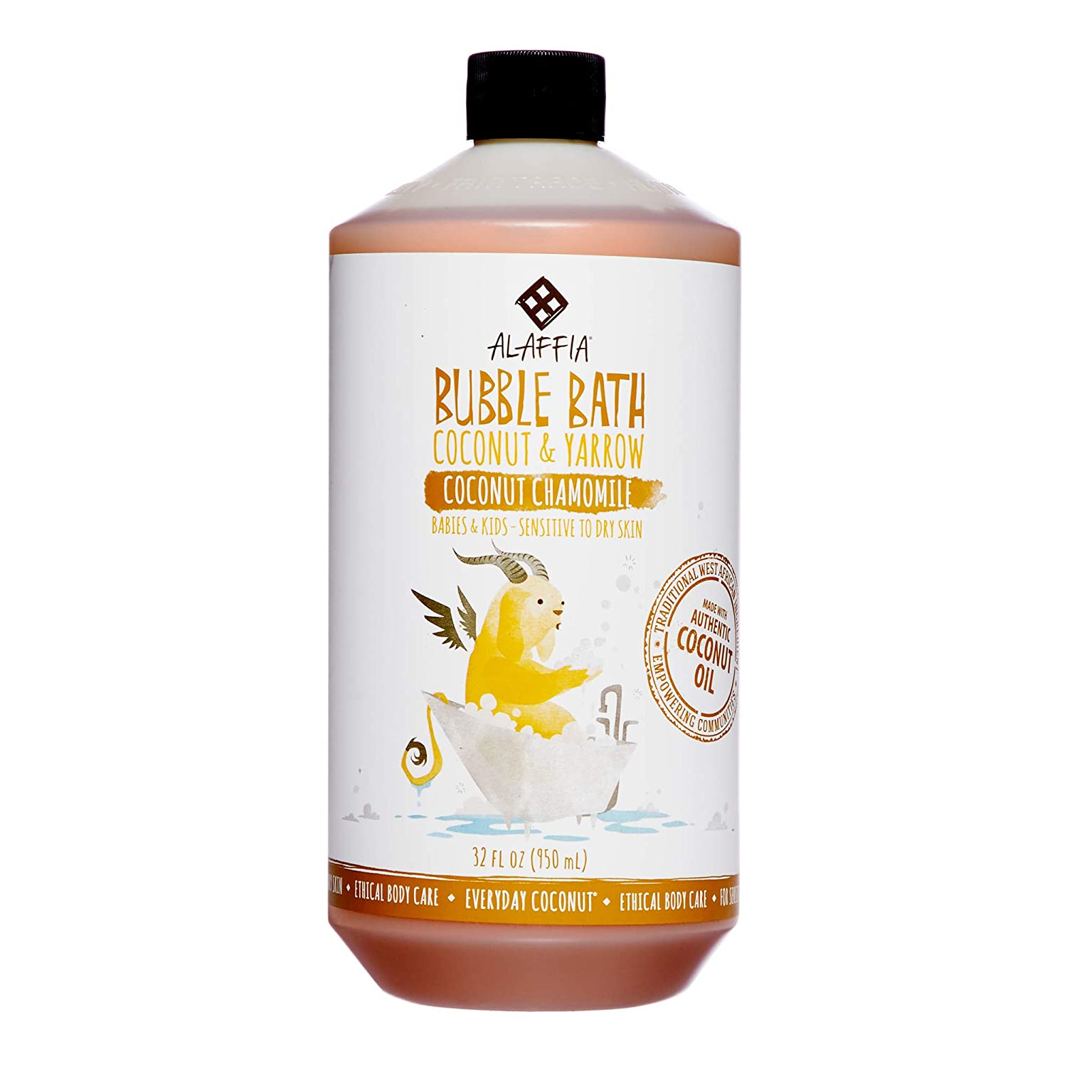 Alaffia - Everyday Coconut Bubble Bath, Gentle for Babies and Up, Supports Soft Skin and Relaxation with Yarrow, Chamomile, and Coconut Oil, Fair Trade, Naturally Foaming, Coconut Chamomile, 32 Ounces 4332391991