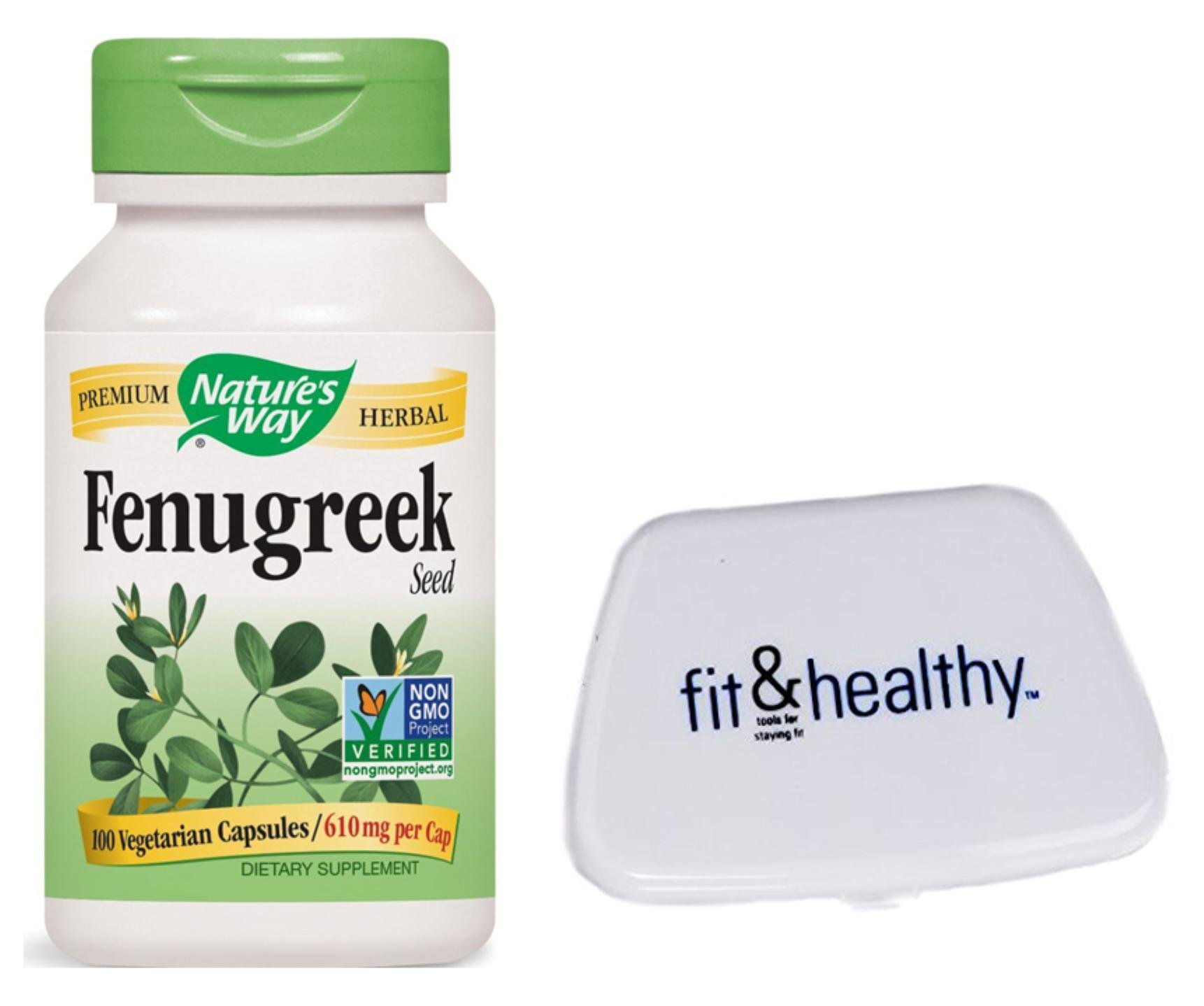 Nature's Way Fenugreek Seed 100 Vegetarian Capsules in Bundle with Fit & Healthy Pocket Pill Pack by Nature's Way and Fit & Healthy (Image #1)
