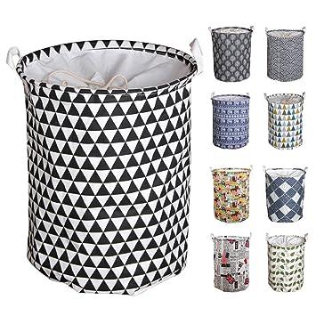 Y-Step Wäschekorb, 45 cm, groß, Pop-Up-Wäschekorb, Kordelzug, wasserdicht,  rund, Baumwolle / Leinen, zusammenklappbar Black/White Triangle