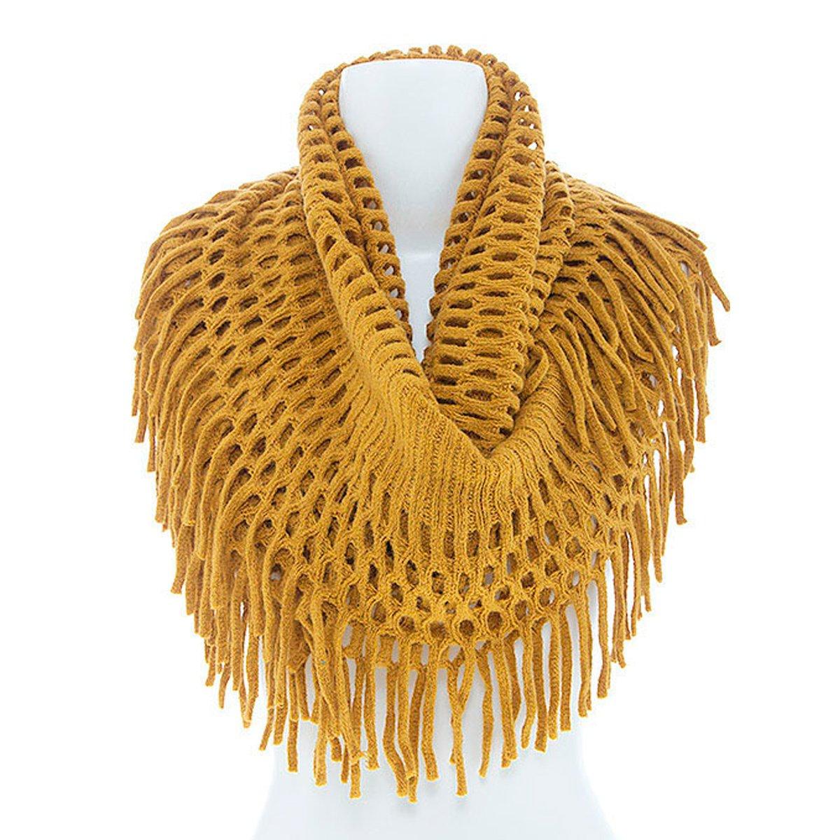 Women's Winter Warm Knit Infinity Fringed Scarf, Multiple Colors (Mustard)