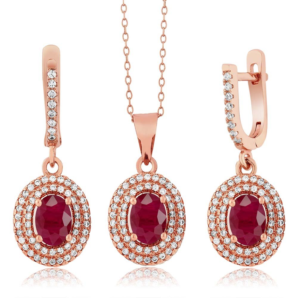 4.69 Ct Oval Red Ruby 925 Rose Gold Plated Silver Pendant Earrings Set