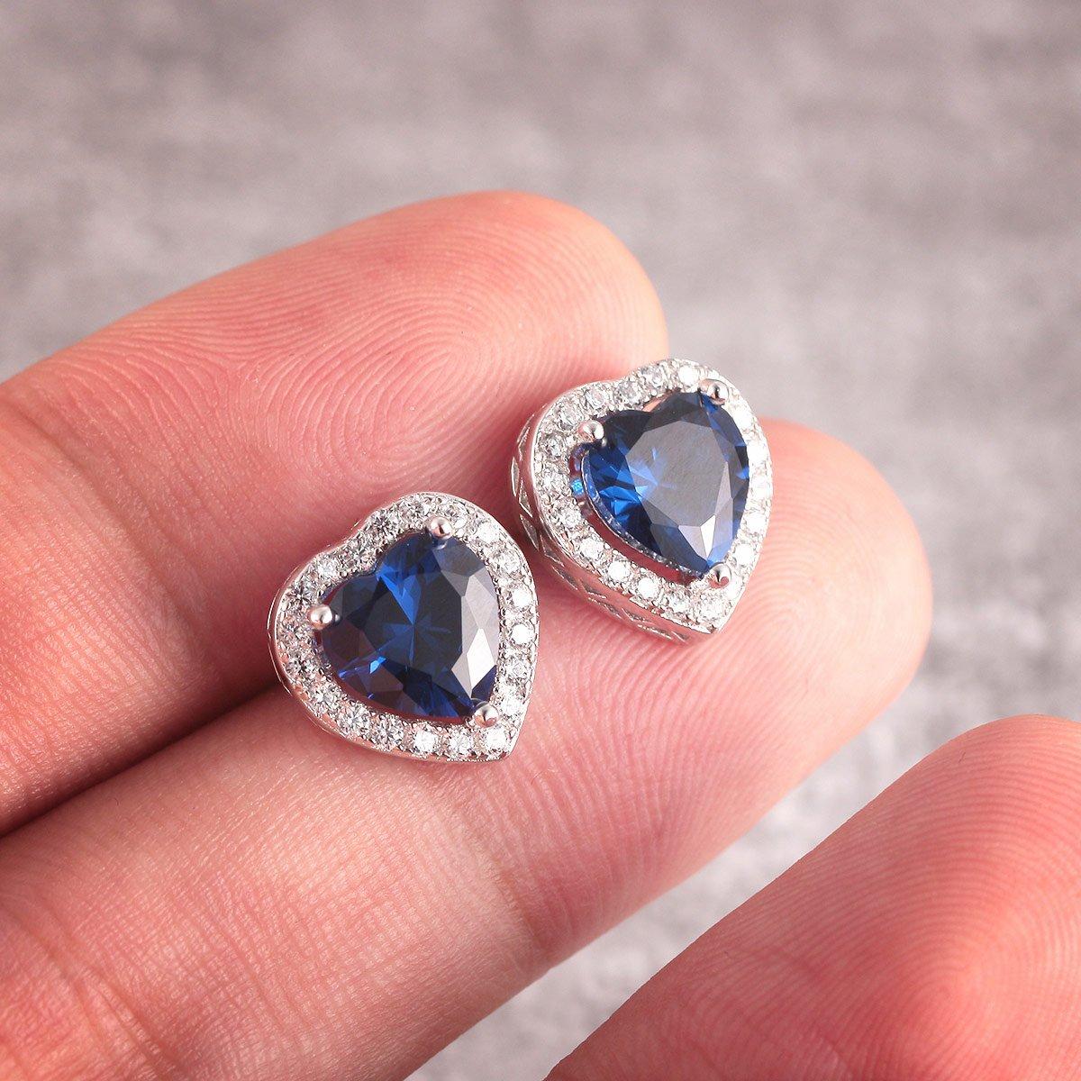 Amazon.com: Caperci Sterling Silver Created Blue Sapphire Heart Stud ...