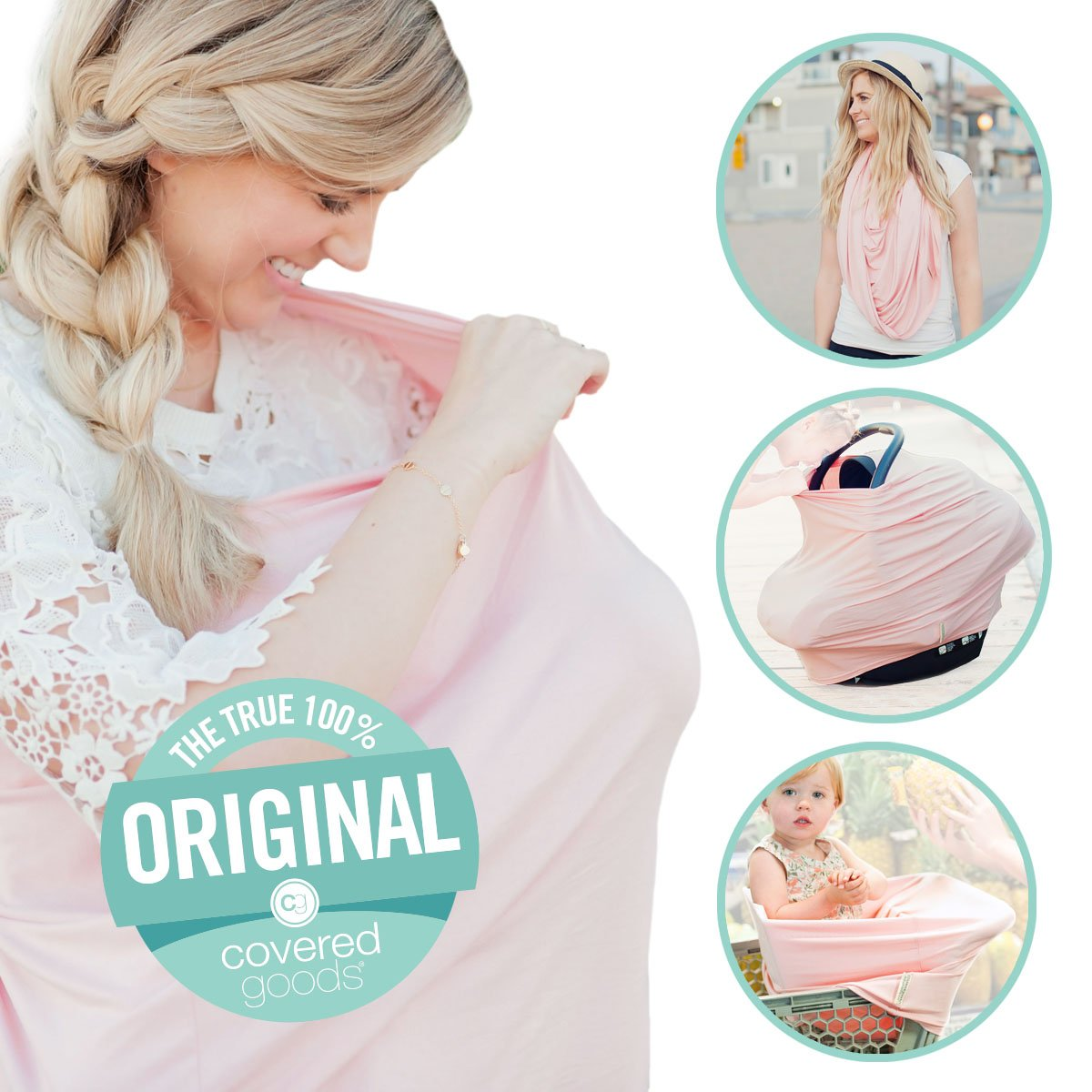 Covered Goods - The Original Multi Use Maternity Breastfeeding Nursing Cover, Infinity Scarf, and Car Seat Cover - Rose Quartz