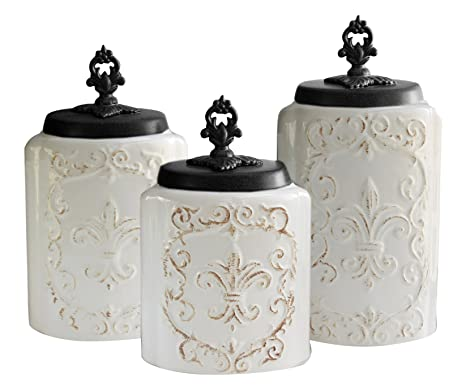 amazon com american atelier 3 piece white fleur de lis canister set rh amazon com fleur de lis glass kitchen canisters fleur de lis glass kitchen canisters