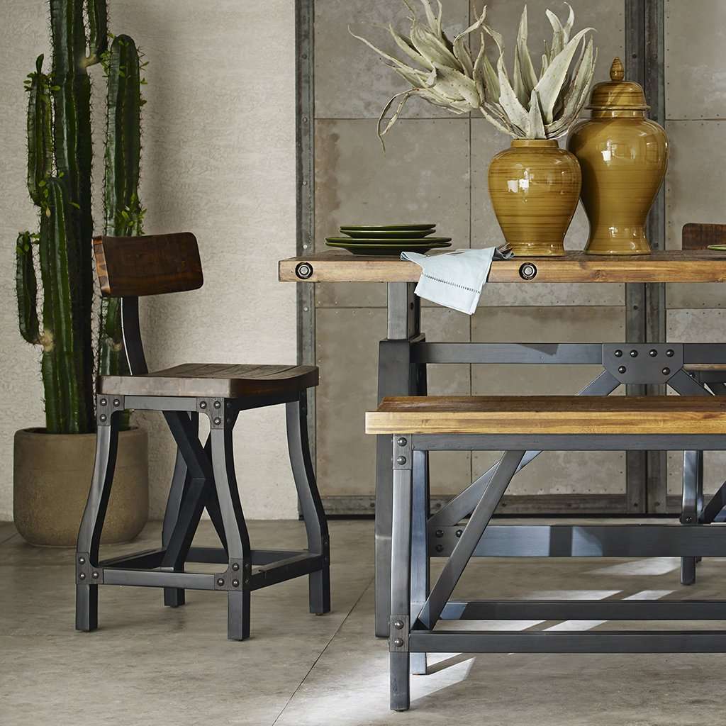 Ink+Ivy Lancaster Counter Stools - Solid Wood, Metal Kitchen Stool - Amber Wood, Industrial Style Counter Height Stools - 1 Piece Iron Frame Wooden Seat Counter Furniture For Home by Ink+Ivy (Image #2)