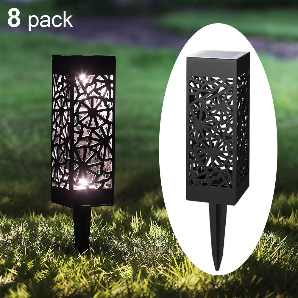 Maggift 8 Pcs Solar Pathway Lights Solar Garden Lights Solar Lights Outdoor for Lawn, Patio, Yard, Walkway, Landscape (Flower)